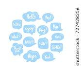 trendy blue speech bubbles set...   Shutterstock .eps vector #727428256