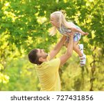 happy man with daughter in park ... | Shutterstock . vector #727431856