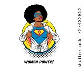 women power. pop art sexy afro... | Shutterstock .eps vector #727432852