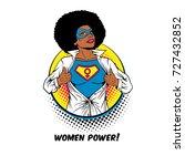 women power. pop art sexy afro... | Shutterstock .eps vector #727432852