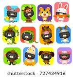 vector set of cute cat wearing... | Shutterstock .eps vector #727434916