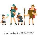 family hike to nature. vector | Shutterstock .eps vector #727437058