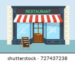 facade of restaurant vector... | Shutterstock .eps vector #727437238