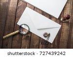 envelope  magnifier  stamp ... | Shutterstock . vector #727439242