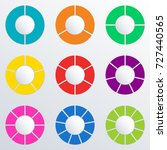 pie chart set with 2 3 4 5 6 7... | Shutterstock .eps vector #727440565