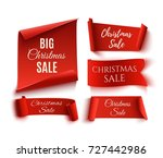 set of five red  christmas sale ... | Shutterstock .eps vector #727442986