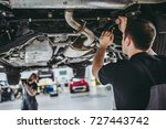 two handsome mechanics in... | Shutterstock . vector #727443742