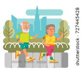 elderly couple running in the... | Shutterstock .eps vector #727445428