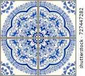 majolica pottery tile  blue and ... | Shutterstock .eps vector #727447282