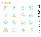 arthritis thin line icons set... | Shutterstock .eps vector #727451446