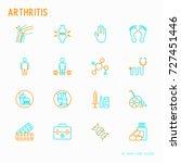 arthritis thin line icons set... | Shutterstock .eps vector #727451446