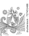 line art design of champagne... | Shutterstock .eps vector #727451488