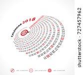 2018 calendar template.spiral...   Shutterstock .eps vector #727457962