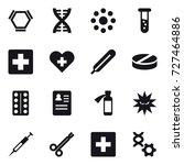 16 vector icon set   hex... | Shutterstock .eps vector #727464886