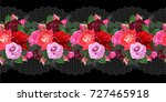 seamless floral border with... | Shutterstock .eps vector #727465918
