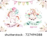 Isolated cute watercolor unicorn clipart. Nursery unicorns illustration. Princess unicorns poster. Trendy pink cartoon horse.