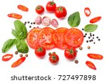 mix of slice of tomato  basil... | Shutterstock . vector #727497898