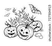halloween coloring book.  | Shutterstock . vector #727504915