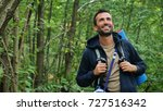 a man in the woods practices...   Shutterstock . vector #727516342