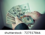 Small photo of Very happy businessman with money in hand. (Success, freedom, financial prospects, career advancement), process color