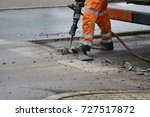 man work with  knock hammer for ...   Shutterstock . vector #727517872