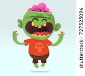 cartoon funny zombie. halloween ... | Shutterstock .eps vector #727525096