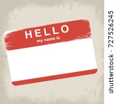 grunge hello name tag sticker... | Shutterstock .eps vector #727526245