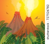 prehistoric landscape with two... | Shutterstock .eps vector #727526782