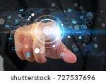 businessman touch social... | Shutterstock . vector #727537696