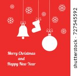red christmas ornaments card.... | Shutterstock .eps vector #727545592