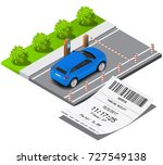 isometric parking ticket and...   Shutterstock .eps vector #727549138