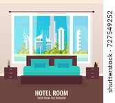 hotel room. view from the... | Shutterstock .eps vector #727549252