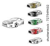 sport car. modern car on a... | Shutterstock .eps vector #727549432