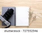 blank notebook and vintage... | Shutterstock . vector #727552546