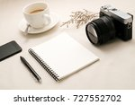 blank notebook with cup coffee... | Shutterstock . vector #727552702
