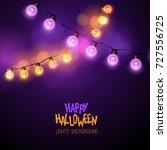 glowing halloween decoration... | Shutterstock .eps vector #727556725