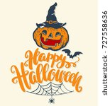 happy halloween lettering... | Shutterstock .eps vector #727558636