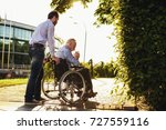 the old man is sitting in a... | Shutterstock . vector #727559116