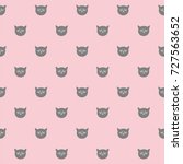 tile pattern with grey cats on... | Shutterstock . vector #727563652