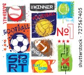 sport print for t shirts ... | Shutterstock .eps vector #727567405