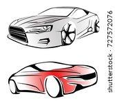 sport car. modern car on a... | Shutterstock .eps vector #727572076