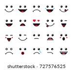 cartoon faces expression line... | Shutterstock .eps vector #727576525
