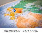the drawing of catalonia flag... | Shutterstock . vector #727577896