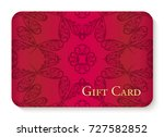 luxury red gift card with... | Shutterstock .eps vector #727582852