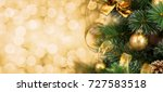 christmas tree branch with... | Shutterstock . vector #727583518