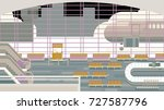 background of hall at airport. | Shutterstock . vector #727587796