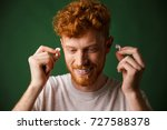 handsome curly redhead man in... | Shutterstock . vector #727588378