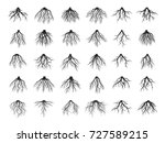set of black roots tree on... | Shutterstock .eps vector #727589215