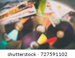 compact discs and disc boxes.... | Shutterstock . vector #727591102