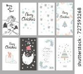 collection of cute cards for... | Shutterstock .eps vector #727593268